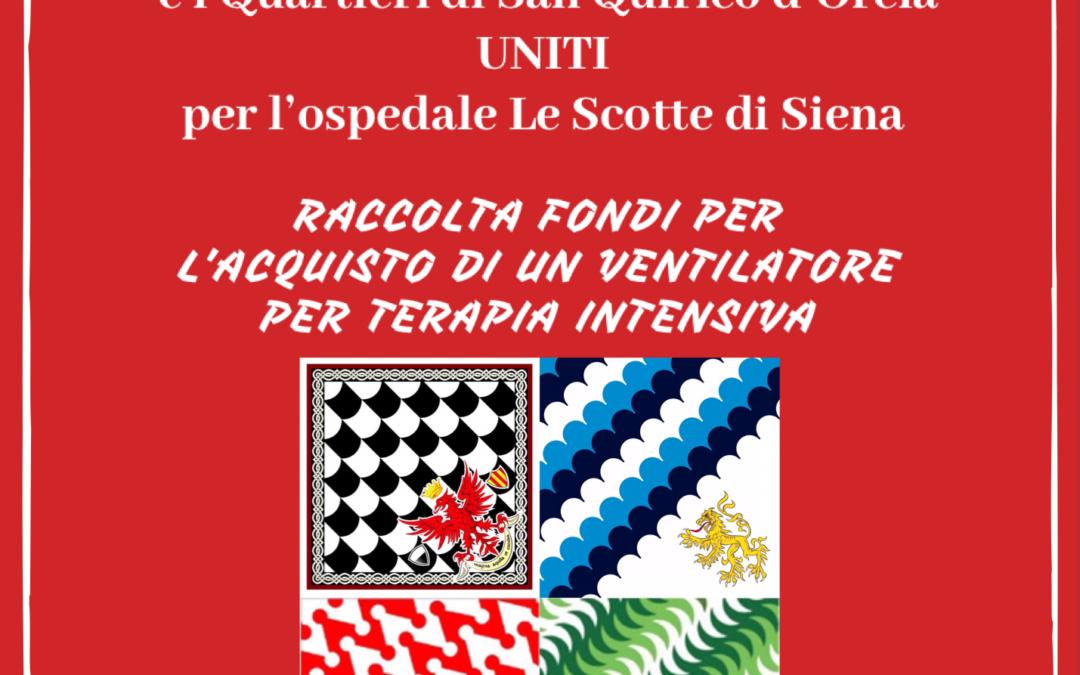 Uniti contro il Coronavirus. Raccolta fondi dei Quartieri della Festa del Barbarossa per l'ospedale Le Scotte di Siena